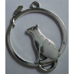 Cat Stalking Mouse - Silver