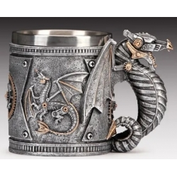 Silver Steampunk Dragon Mug