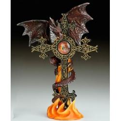 Burgundy Dragon and cross with dragon eye